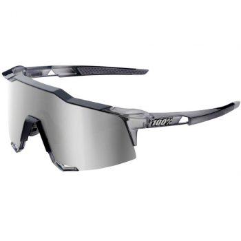 Велосипедные очки Ride 100% Speedcraft — Polished Translucent Crystal Grey — HiPER Silver Mirror Lens