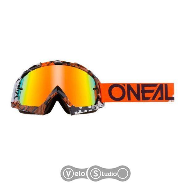 Очки-маска O`NEAL B-10 Goggle Pixel Orange White Radium