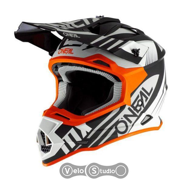 Шлем ONeal 2SRS Helmet Spyde 2.0 Black/White/Orange