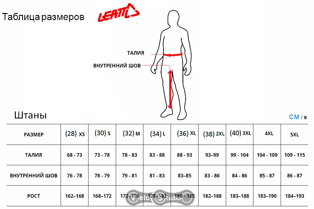 Размерная сетка мотоштанов Leatt