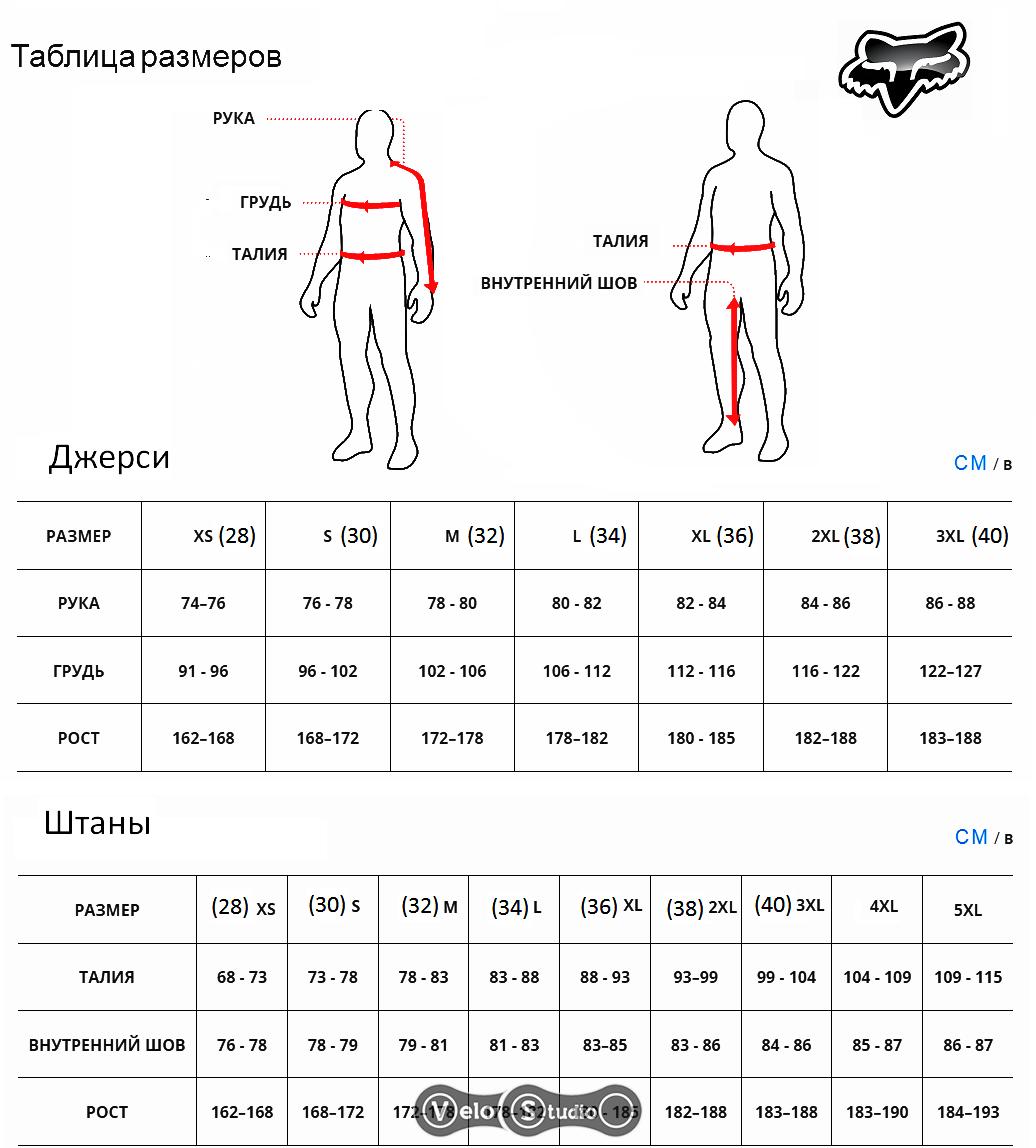 Размерная сетка мотокроссовых костюмо FOXв