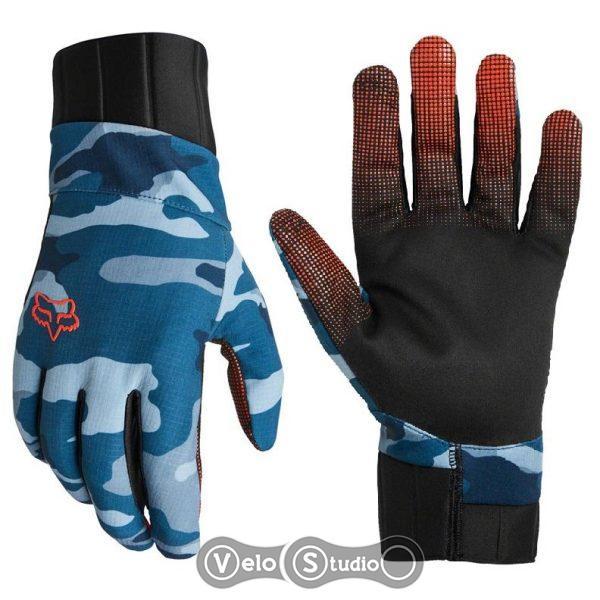 Зимние велоперчатки FOX Defend Pro Fire Blue Camo
